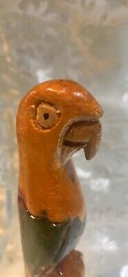 Hand Carved Painted Wood Parrot Wooden Figure Statue Folk Art Sculpture Figurine