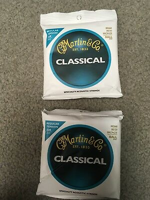 SHIPS FREE Martin M260 80//20 Bronze Ball End Classical Guitar Strings 2 PACK