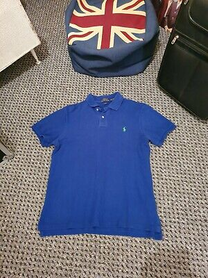 Mens Polo By Ralph Lauren Polo Shirt Mid Blue Short Sleeve Size Large Slim Fit