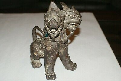 "Extremely Rare Vintage Chinese Bronze Two Headed Fu Foo Dog Lion statue 7"" Tall"