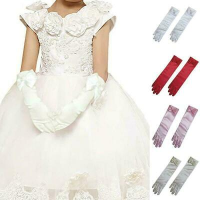Kids Girls Long Gloves Bow Knot Satin Elbow Dance Princess Dress Sleeves Gl I3S8