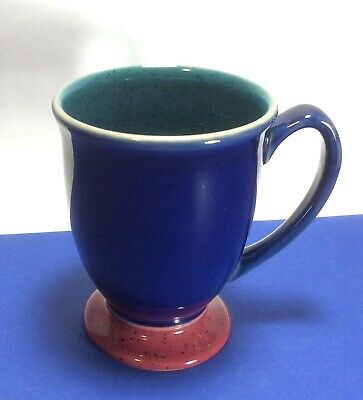 Denby Multicolor Harlequin Mug s Red Foot Blue with Green Interior