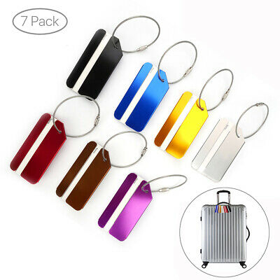 7PC Aluminium Luggage Tags Suitcase Label Name Address ID Bag Baggage Travel Tag