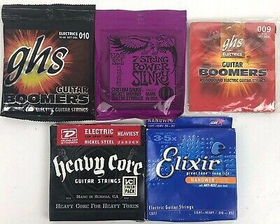 Lot of Various Guitar Strings Ernie Ball GHS Elixir and Heavy Core