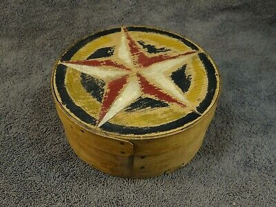 Antique Pantry Box in Old Painted Star Primitive Folk Art Design