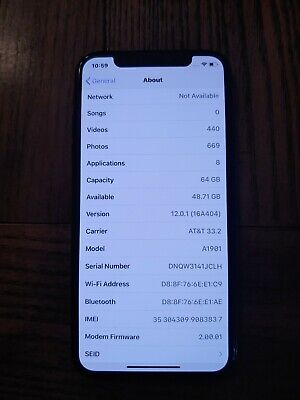 Apple iPhone X - 64GB - Space Gray (AT&T) A1901 (GSM) Blacklisted