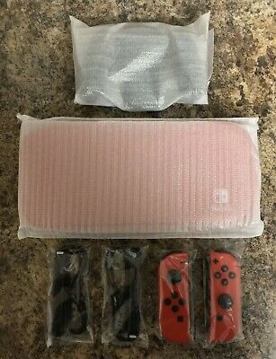 NEW Nintendo Switch MARIO RED Joy-Con (Left/Right), Carrying Case, Straps, Grip