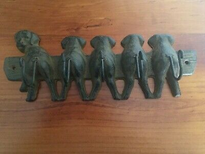 Puppy Dog Cast Iron Heavy Key Rack Hanging Hooks Antique Look Rustic Style