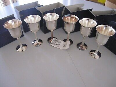 6  New  Never  Used  Epns  Vintage   Silverware  Wine  Goblets