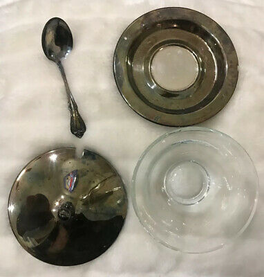 WMA Rogers Silver Plate Sugar glass Bowl With Spoon And Lid Vintage