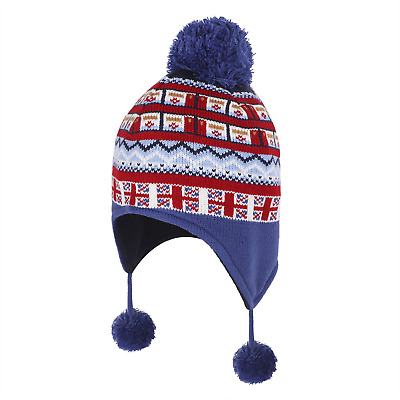Boys Girls Winter Bobble Hat with Ear Flaps Warm Hooded Beanie Cap Thermal Hat