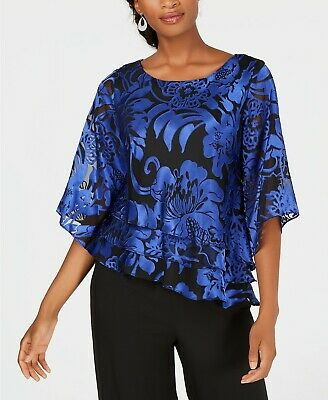 Alex Evenings Printed Tiered Blouse MSRP $129 Size M # 6A 974 NEW