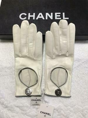 Auth Chanel Sheep Leather Gloves Coco Mark Size:7.5 21Cm Shipping Free