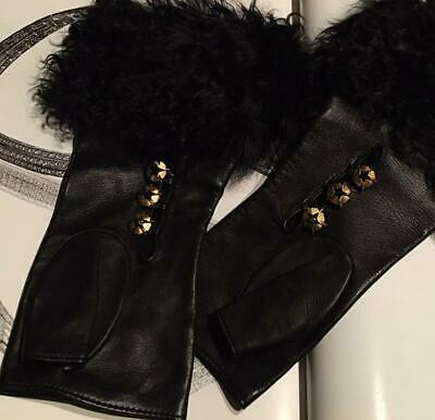 Auth Chanel Lamb Leather Long Gloves Black Gold Coco Mark Size:7 L:24Cm F/S