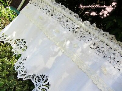 Handmade~Vintage Look Battenburg Lace Cafe Curtain/Valance~White~Cotton~Elegant~