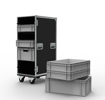6 Drawer Euro Container Flight Case with Removable Lid - Production Style Case