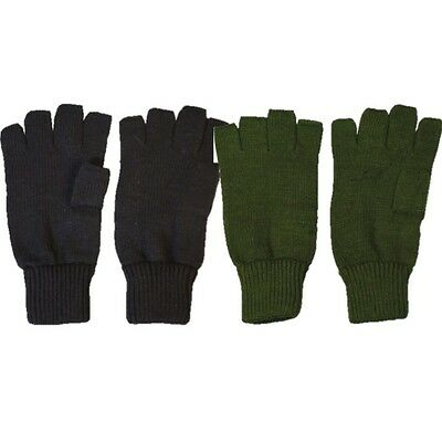 Mens Military Fingerless Gloves 100% Acrylic Green Black Hunting Army Shooting