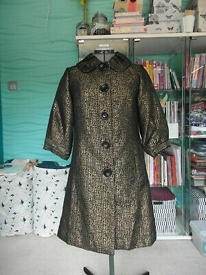 ladies new look vintage evening coat/ jacket lined gold /black size 10 VGC
