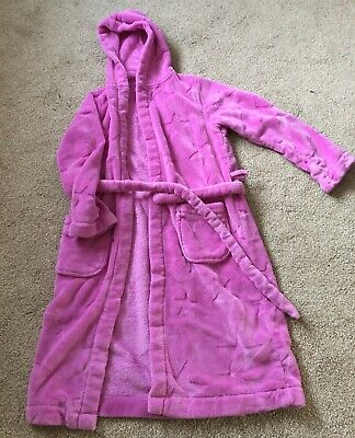 M&S Star Imprint Dressing Gown Girls Age 11- 12 Years With Hood & Belt