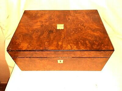 Antique  Burr walnut  Box Restored  From a quality  Victorian  Writing slope