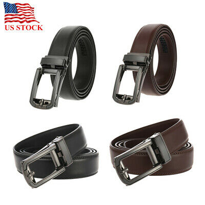 Genuine Leather Belts For Men Classy Dress Belts Ratchet Autonomic Buckle Black