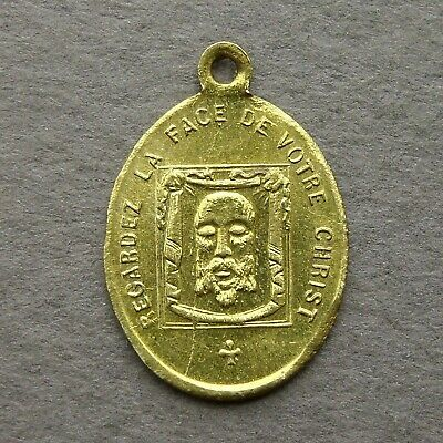 French Antique Brass Religious Pendant Holy Face of Jesus Medal