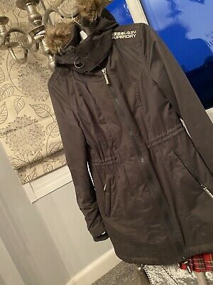 LADIES SUPERDRY THE Windparka Hooded Winter Coat Size L