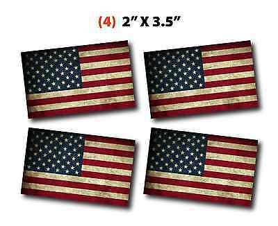 (4) Four American Flag Distressed Vinyl Stickers Decals Army USA Patriot Liberty