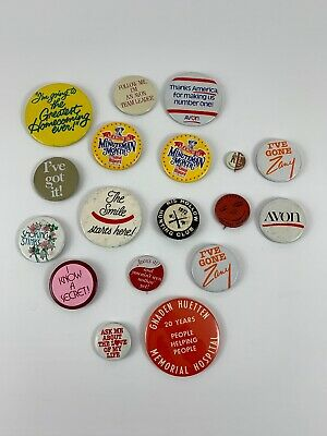 #3 QTY 6 PINBACK BUTTONS FOR AVON REPS TO WEAR AND ADVERTISE SAFETY PIN FASTENER