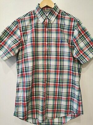 mens polo by ralph lauren custom fit checked shirt size M