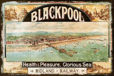 Blackpool Train Travel Advert, Midland Railway, Vintage Retro Style Metal Sign