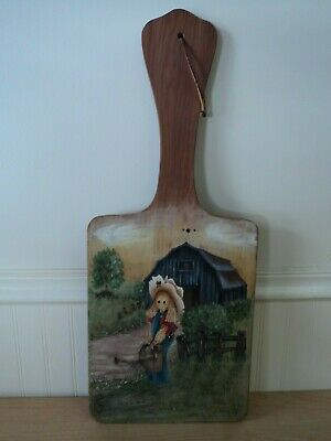 Vintage WOODEN WALL HANGING/ PADDLE Hand Painted Country Folk Art Decor Farm
