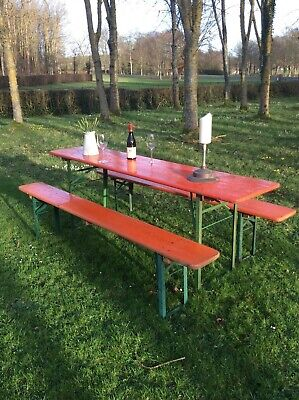 Vintage garden table and benches German beer festival Oktoberfest industrial