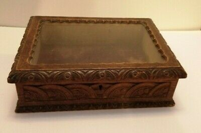 Victorian Gothic glazed oak hand carved display/ jewellery box