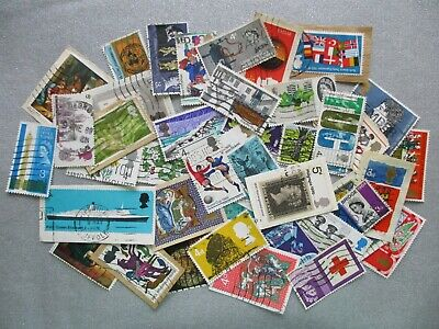 GB PRE-DECIMAL Great Britain Postage Stamps ALL DIFFERENT franked on & off paper