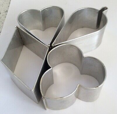 Tala Vintage cookie cutters - playing card suits - heart, clubs, spades, diamond