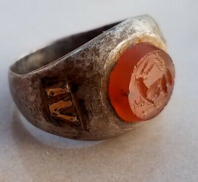 ANCIENT Roman legionary Silver and Gold Ring Legio IV Scythica CAPRICORN 21mm