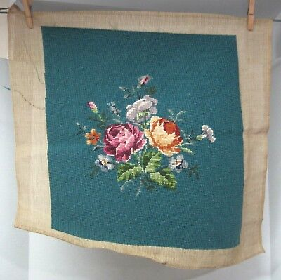 Vintage Floral Needlepoint Tapestry Smoky Turquoise Blue Background ROSES
