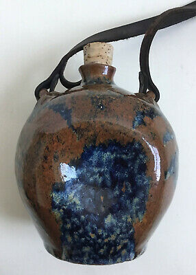 Vtg Unusual Derek Davis Studio Art Pottery Abstract Jug-Cork & Leather Strap