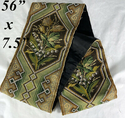 """Antique Needlepoint Beadwork Panel, 56"""" Long 7.5"""" Wide, For Throw Pillow Pair?"""