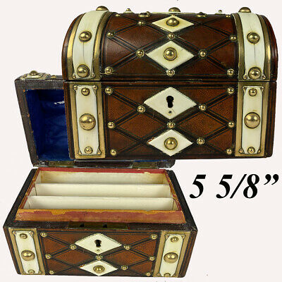 Antique French Stationery Box, Strapping and Brass Stud, Leather Trunk or Chest