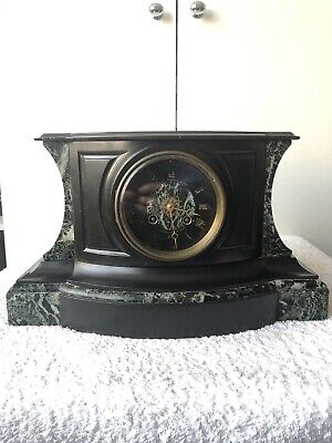 Antique Marble Clock - Very Massive And Heavy French  Clock - Mantel + key