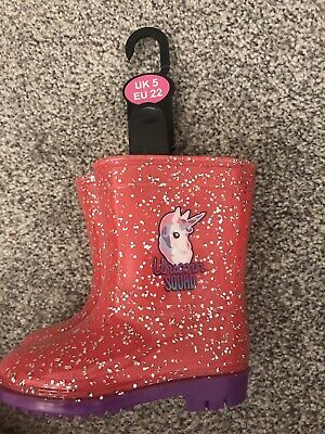 Girls Unicorn Squad Pink Wellies Size 5 BNWT