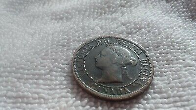 1882 H Canada One Cent Large Penny Copper Coin beautiful patina good condition