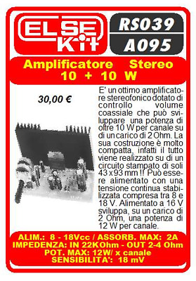 Amplificatore stereo 10+10 W 8-18 Vcc 2A 2-4Ohm 18mV ELSE KIT Elettronico RS039