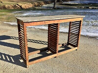 Antique Wood Printer Tray Cabinet   Shell Primitive Work Bench Bar Counter Table