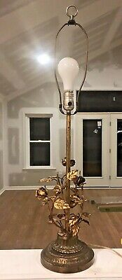 Beautiful Vintage Toleware Lamp Roses Flowers Leaves Vine Gold Leaf Italy