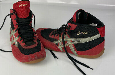 ASICS Mens Wrestling Black RED Silver Shoes Size 11 J902Y