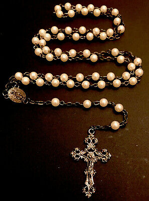 Vintage Pearl Beaded Rosary, Pewter Tone Center, Crucifix Italy