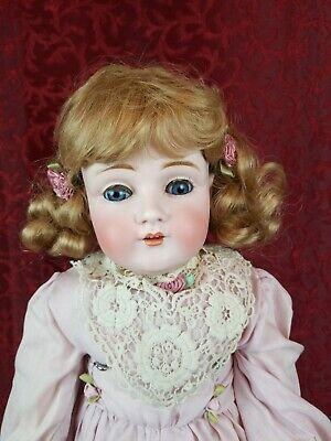 23 Inch Antique Kestner DEP # 154 Bisque Head Leather Body Doll Cute As Found